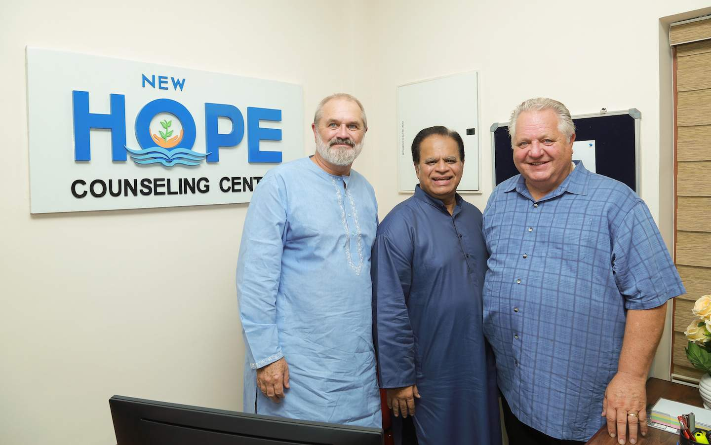 IGO President Valson Abraham (center) leads dedication of the New Hope Counseling Center at India Bible College and Seminary.  Pastors Amos Dodge and Dennis Gallaher, close friends of the school, participated in the dedication.