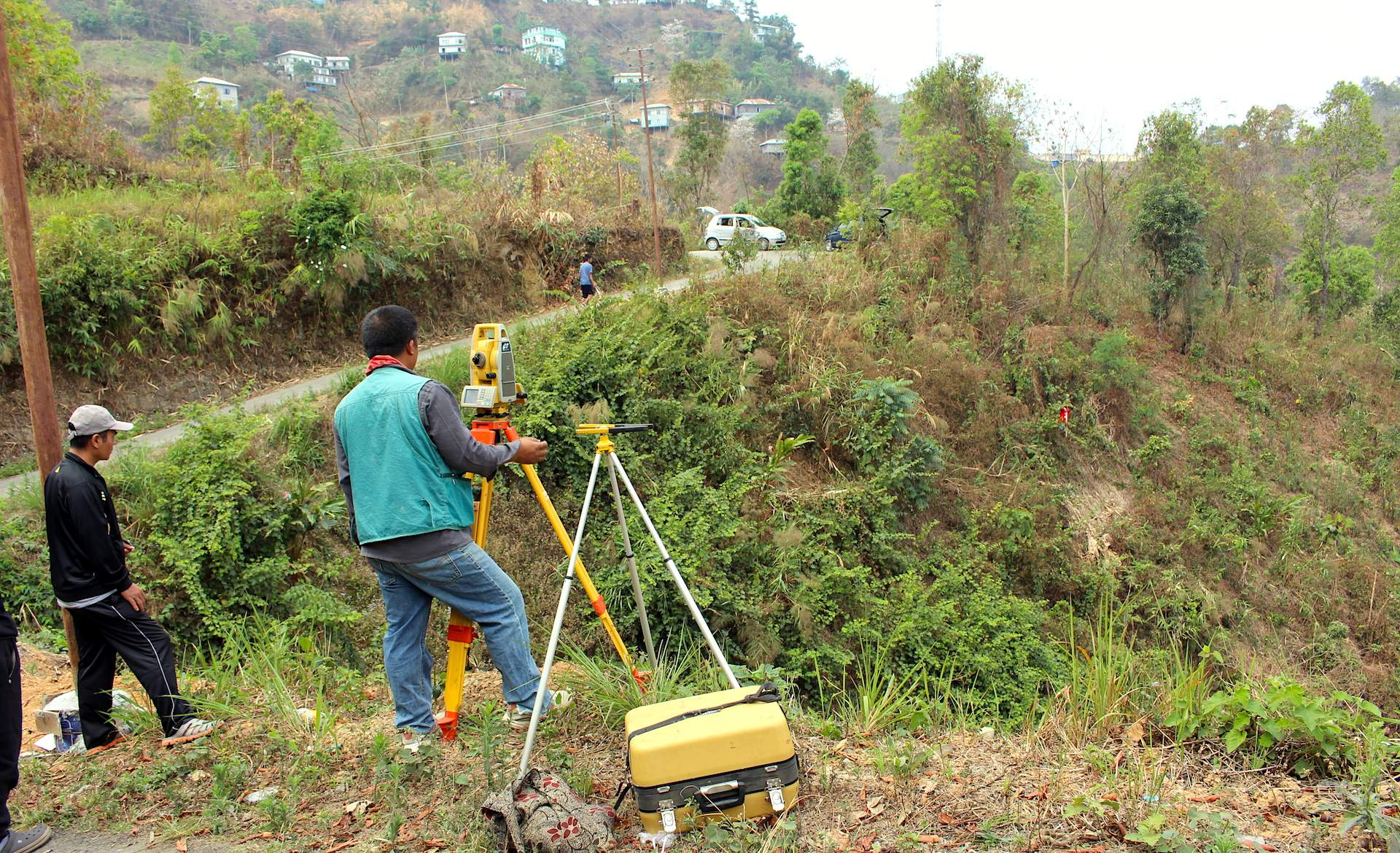 Surveyors map the 2.49 acres of hillside land for Mizoram Bible College expansion. All funds are due by December 20, 2017. All land in Mizoram lies on hillsides.