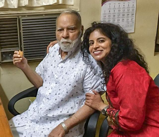 Stephen Abraham with his eldest granddaughter, Sneha (January 2018).